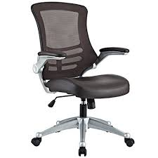modern ergonomic desk chair amazon com modway attainment mesh back and brown vinyl modern