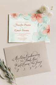 spring mint green and peach flower watercolor wedding invitations