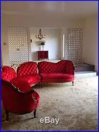 Velvet Settee Sofas Vintage Antique Red Velvet Settee Sofa Couch Love Seat Chase