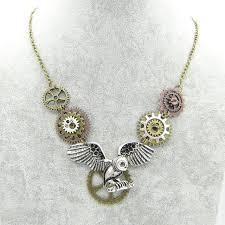 steampunk necklace vintage images The original unique design cool owl with different gears vintage jpg