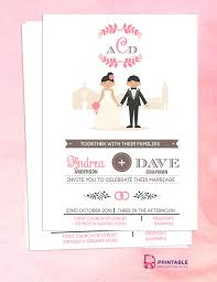 wedding card design template free download free pdf download couple cartoon in front of church invitation
