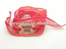 cloth ribbon 2016 boho silk cloth ribbon wrap bracelet trust god inspired words