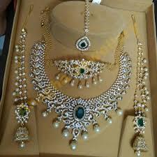 diamond sets design diamond set choker tikka and jhumkas jewellery designs