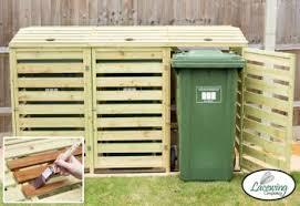 wooden bin 240l wooden slatted wheelie bin store by lacewing 149 99