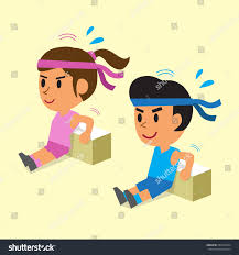 Triceps Bench Dips Cartoon Man Woman Doing Triceps Bench Stock Vector 284270294
