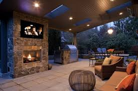 outdoor livingroom image classic fireplace and brown sofa furniture sets in outdoor