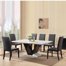 Marble Dining Room Table And Chairs Exclusive Marble And Walnut High Gloss Dining Set Dining