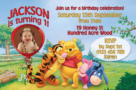 winnie the pooh photo birthday invitations image collections