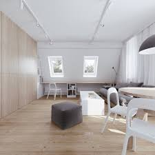 interior soft colored attic home office with wood panel wall
