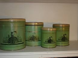 28 tin kitchen canisters antique toleware tin kitchen