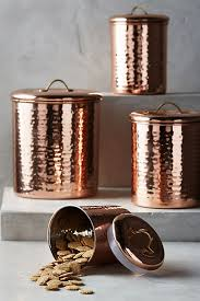 copper kitchen canisters copper plated canister set anthropologie