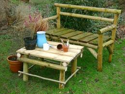 Outdoor Table And Bench Seats Build Garden Furniture Himself And A Personal Garden Design