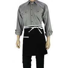 tablier de cuisine blanc tablier de cuisine à la taille noir avec liseré blanc lisavet