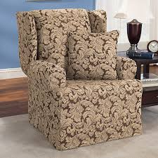 sure fit slipcovers wing chair sure fit scroll brown wing chair slipcover walmart com