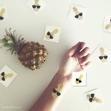 2 pack gold pineapple temporary tattoo gold ink tattoo