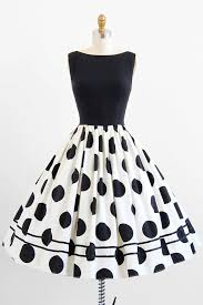 vintage 1950s black white polkadots party dress polkadot