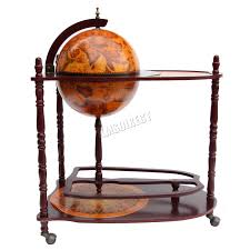 foxhunter globe shaped mini bar trolley with table drinks cabinet