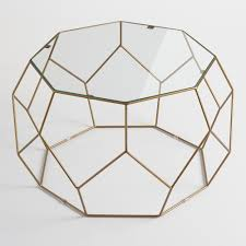 faceted metal coffee table with glass top by world market homebop