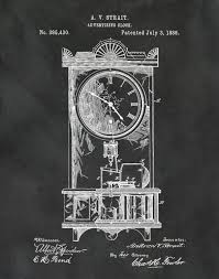 Mantle Piece Clock Patent 1888 Clock Art Print Poster Print Wall Art
