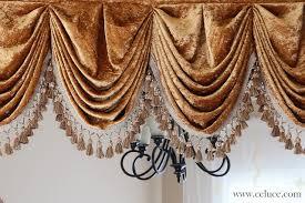 Curtains Seattle Gold Velvet Pleated Austrian Style Valance Curtains