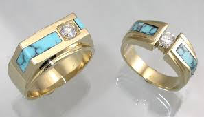 turquoise wedding rings 14kt and turquoise wedding rings from hardwick