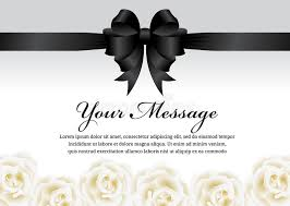 funeral card funeral card black ribbon bow and white flower vector