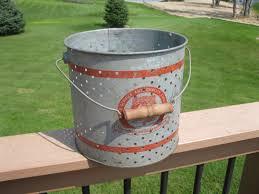 unique metal minnow bucket galvanized wood handle vintage