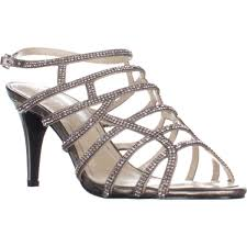 harmonica embellished caged evening sandals silver