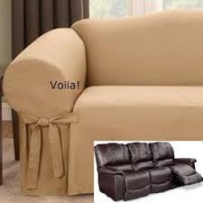 reclining sofa slipcover gold latte ribbed texture adapted for