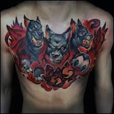 50 cerberus tattoo designs for men three head dog ideas