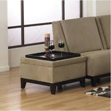 Ottoman Table Light Brown Ottoman Table With Fabric Cover And Tray Top Plus
