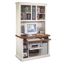 Computer And Printer Desk Furniture White Stained Wood Cimputer Table With Hich And Book
