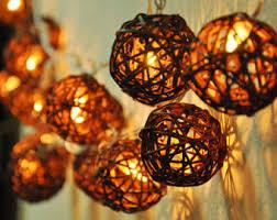 rattan string lights etsy