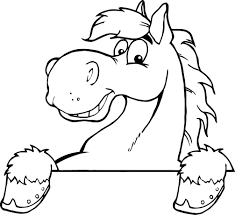 printable outline of a smiley cartoon horse for kids coloring point