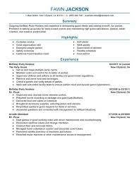 Resume Examples Summary by Birthday Party Host Resume Sample Summary Highlights Experience
