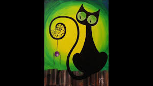 green halloween spiders on black background spooky the cat step by step acrylic painting on canvas for