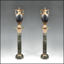 marble urns pair of marble pedestals surmounted with marble urns from piatik