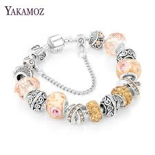 charm bracelet european images European ribbon charm bracelet women crystal beads snake chain jpg
