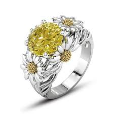 girls wedding rings images Cuekondy womens girls sunflower diamond engagement jpg