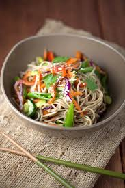 asian soba noodle salad with soy dressing jessica gavin