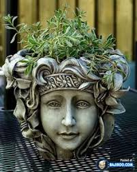 скульптура голова вазон для интерьера голова садовая