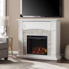 harper blvd stratford white faux stone electric media fireplace by