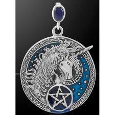 celtic unicorn pentacle laurie cabot pendant with sapphire salem