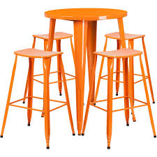 30 round bar table 30 round orange metal indoor outdoor bar table set with 4 saddle