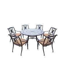 Round Table Patio Dining Sets by Oakland Living Belmont 54 In 7 Piece Round Patio Dining Set With