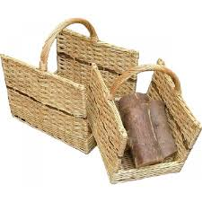 set of open ended log baskets weave willow grate fireplace