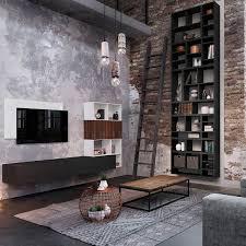 contemporary living room wall unit wooden harmonie arthur bonnet