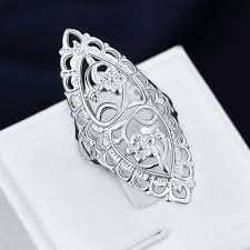 large silver rings images Large size oval silver ring hollow big retro carved flower rings jpg