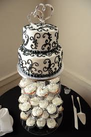 black and white wedding cake w cupcakes from publix bakery