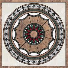 floor medallion marble inlay water jet pattern